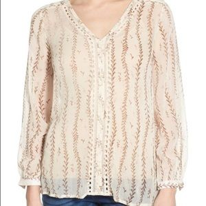 Lucky Brand Lace Inset Vine Blouse